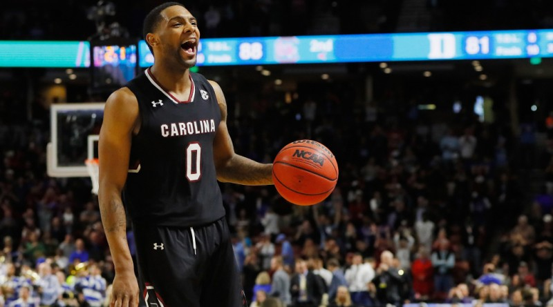 GREENVILLE, SC - MARCH 19:  Sindarius Thornwell #0 of the South Carolina Gamecocks reacts in the second half against the Duke Blue Devils during the second round of the 2017 NCAA Men's Basketball Tournament at Bon Secours Wellness Arena on March 19, 2017 in Greenville, South Carolina.  (Photo by Kevin C. Cox/Getty Images)